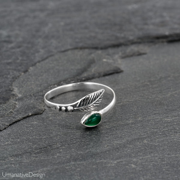 Sterling Silver & Green Onex Toe Ring