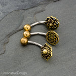 3 Pcs Of Tribal Belly Button Rings