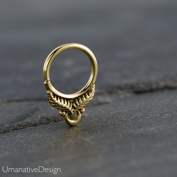 Tiny Antique Feather Septum Ring For Pierced Nose