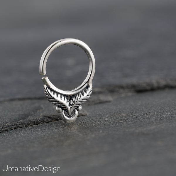 Tiny Silver Feather Septum Ring For Pierced Nose