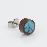 Tribal Coconut Shell & Turquoise Stud Earrings