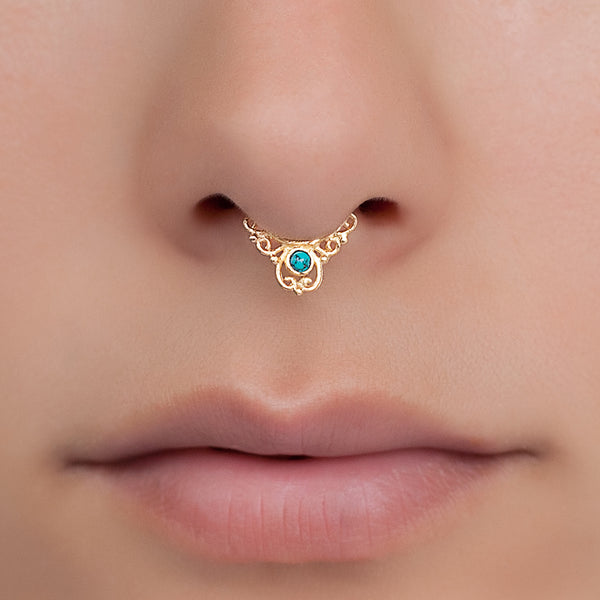 Tiny Fake Gold Septum Ring With Turquoise