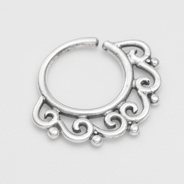 septum piercing. silver septum ring. tribal septum ring. septum jewelry. septum ring 18g.