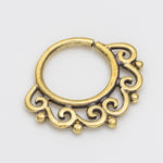 septum piercing. brass septum ring. tribal septum ring. septum jewelry. septum ring 18g.