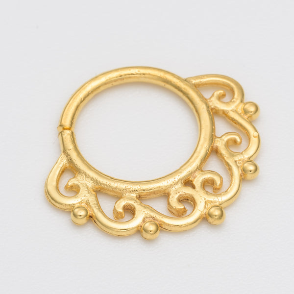 septum piercing. gold septum ring. tribal septum ring. septum jewelry. septum ring 18g.