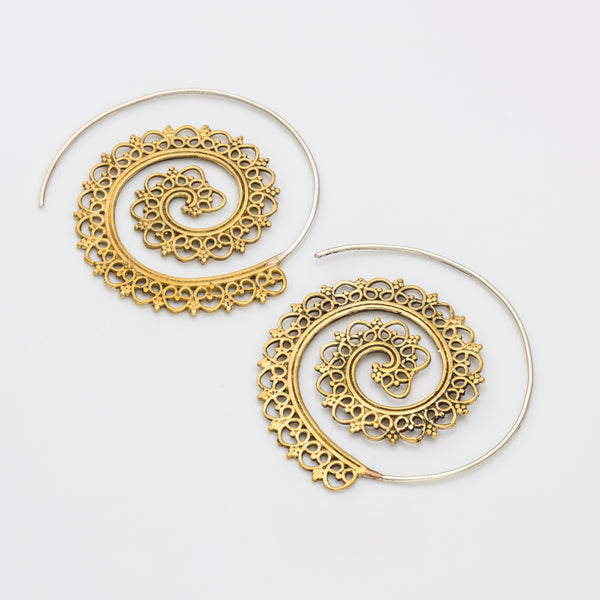 Indian Style Spiral Earrings With Sterling Silver Ear Wire