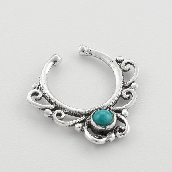 Tiny Fake Siver Septum Ring With Turquoise