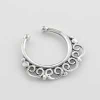 fake silver Septum Ring. sterling silver septum ring. indian septum ring. septum piercing. fake septum. septum jewelry. fake septum ring.