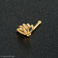 Gold Lotus nose stud. flower nose stud. nose jewelry. nose stud gold. nose ring. nose piercing. boho jewelry. nose ring stud. nose studs.