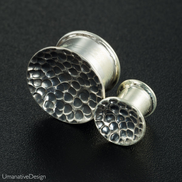 Tribal Hammered Sterling Silver Ear Plugs