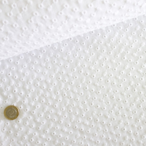 Tissu Broderie anglaise blanche ronds