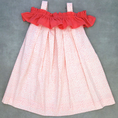 Robe Birdy à volant pois rose 6 ans