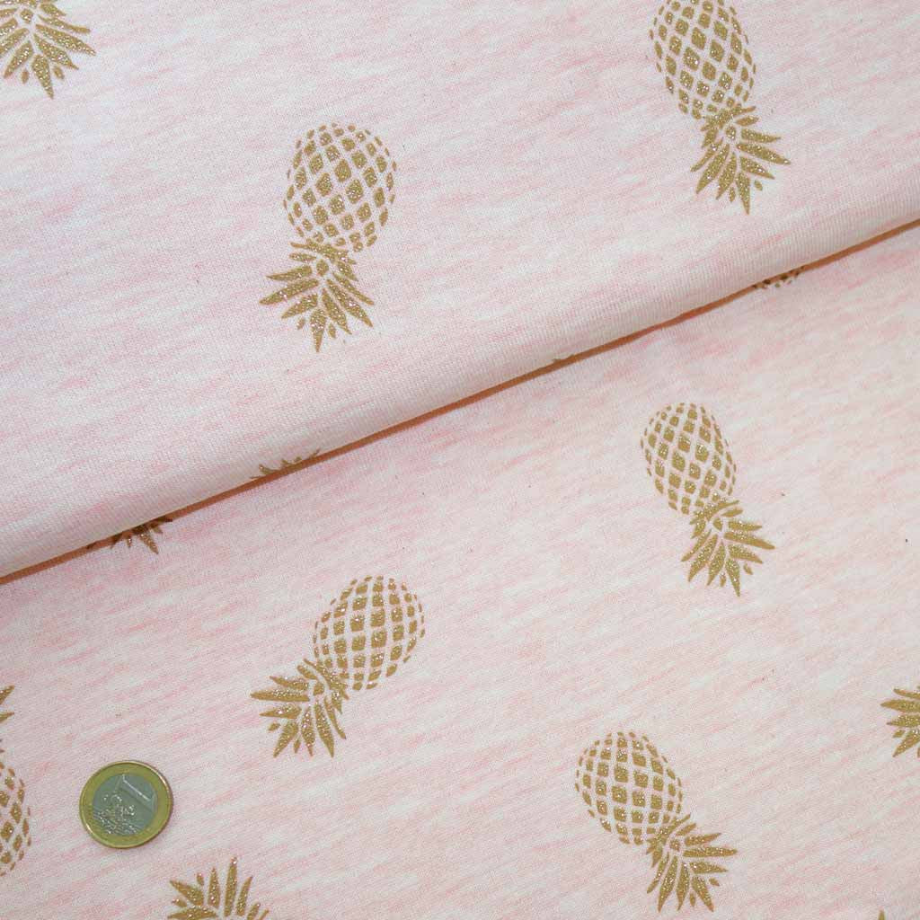 Tissu Sweat Double Face Ananas rose paillette