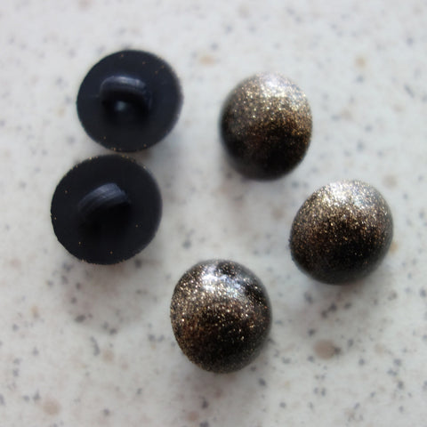 Boutons boule noir paillette or 10 mm
