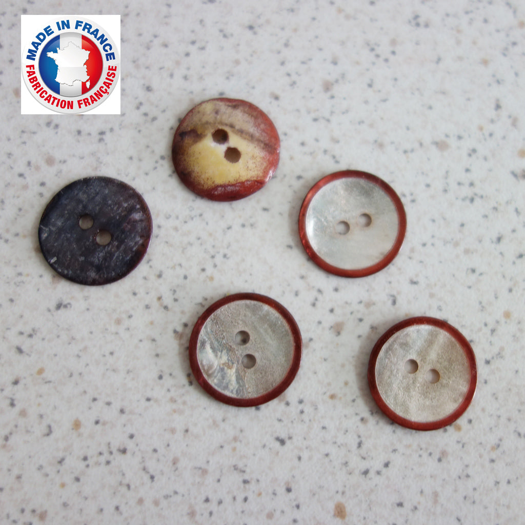 Boutons nacre cercle cuivre 14 mm
