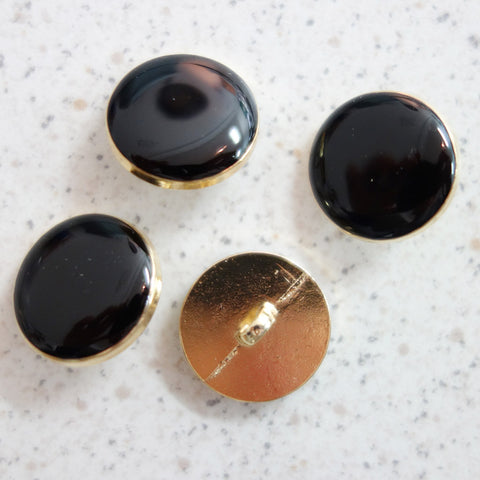 Boutons noir cerclage or 18 mm
