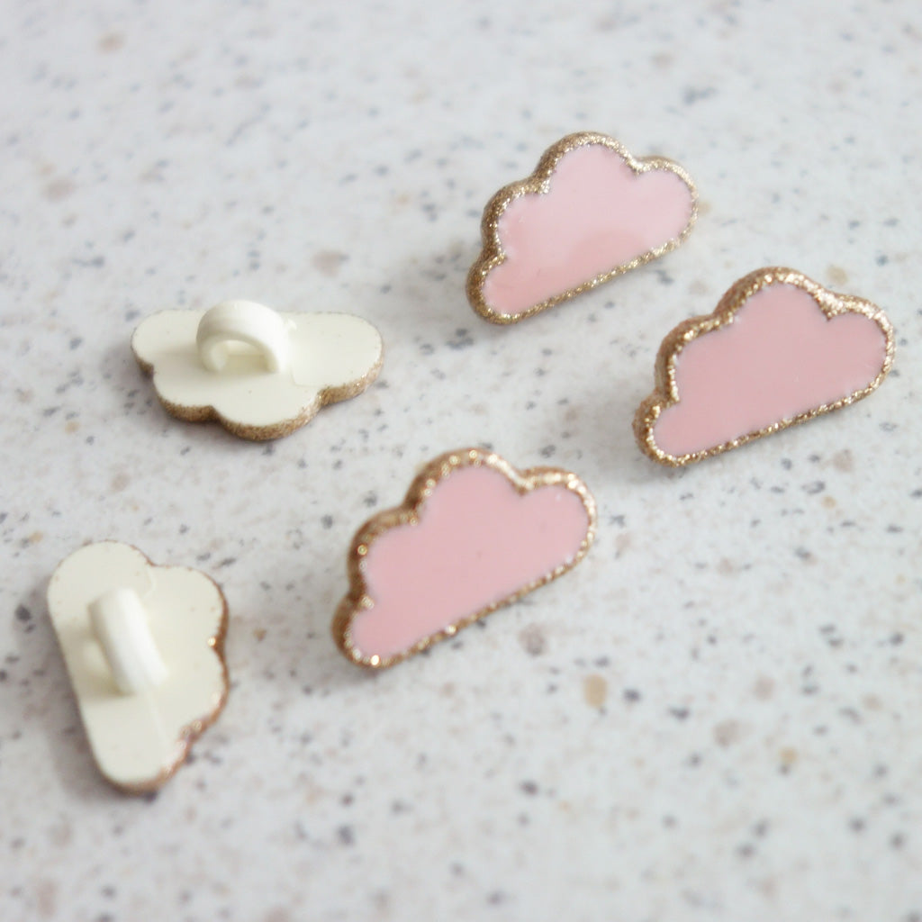 Boutons nuage rose contour or 15 mm