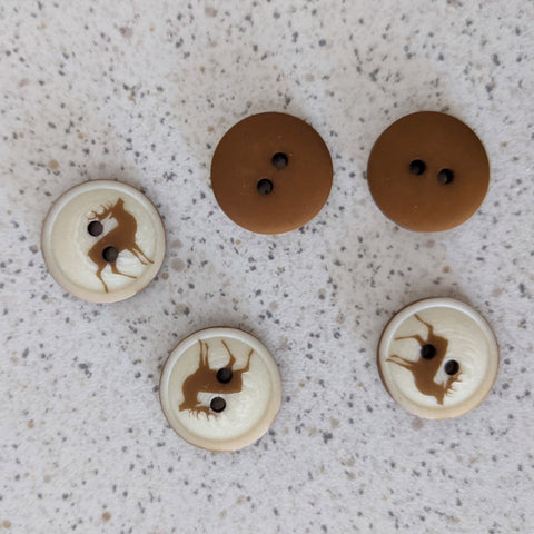Boutons bicolore cerf 18 mm