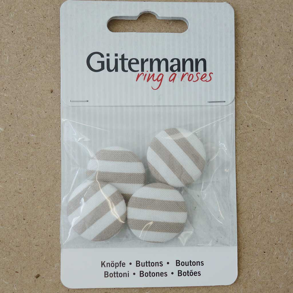 Boutons tissu Guttermann 15 mm rayé taupe