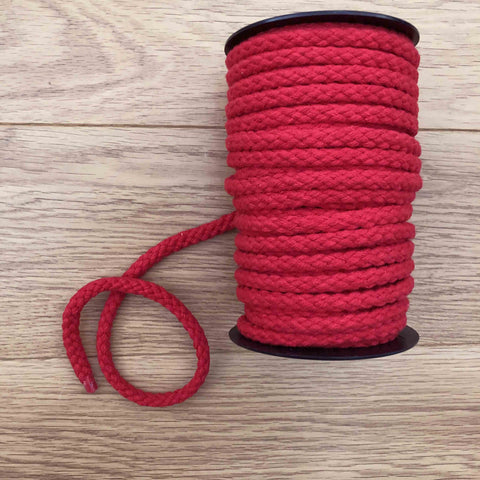 Cordon coton rouge 10 mm