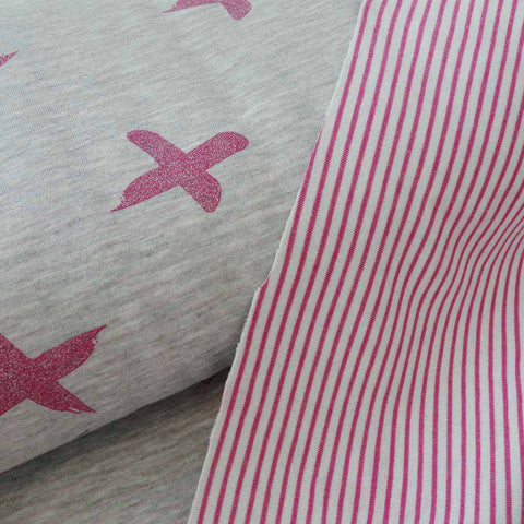 Tissu Sweat Double Face croix/rayures rose
