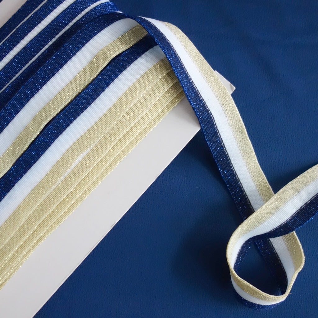 Galon lurex, bleu, blanc et or 30 mm