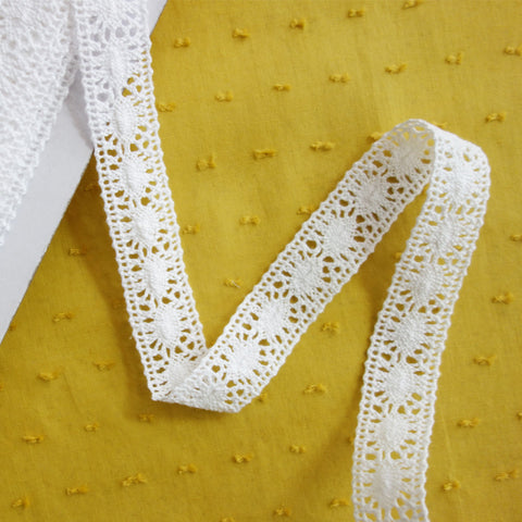 Galon macramé blanc ovales 20 mm