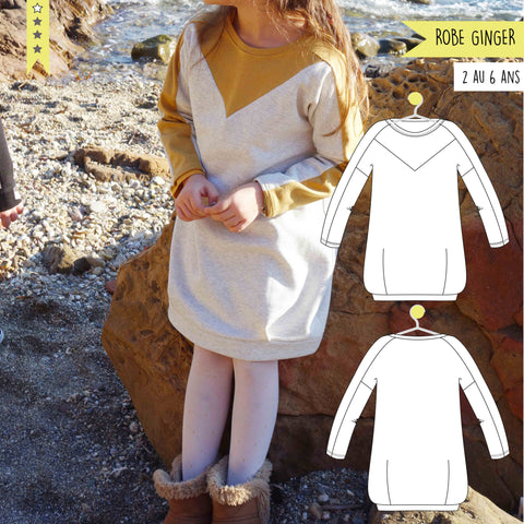 Patron robe sweat Ginger 2/6 ans