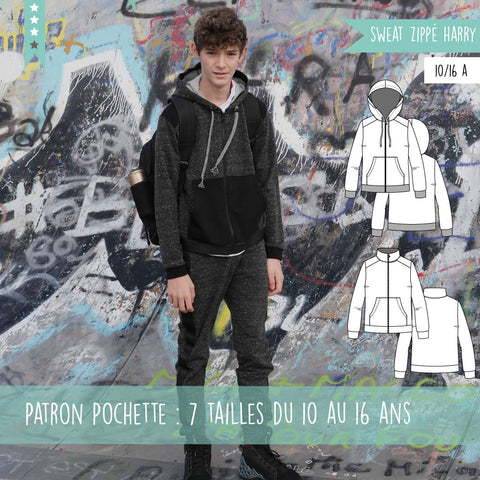 Patron ado sweat zippé Harry 10/16 ans