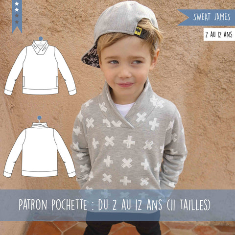 Patron sweat James Pack du 2 au 12 ans