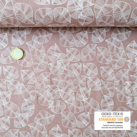 Jersey vieux rose feuille filigrane blanche