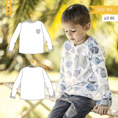 Patron enfant Sweat Paul 6/12 ans