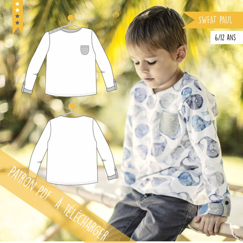 Patron PDF enfant Sweat Paul 6/12 ans