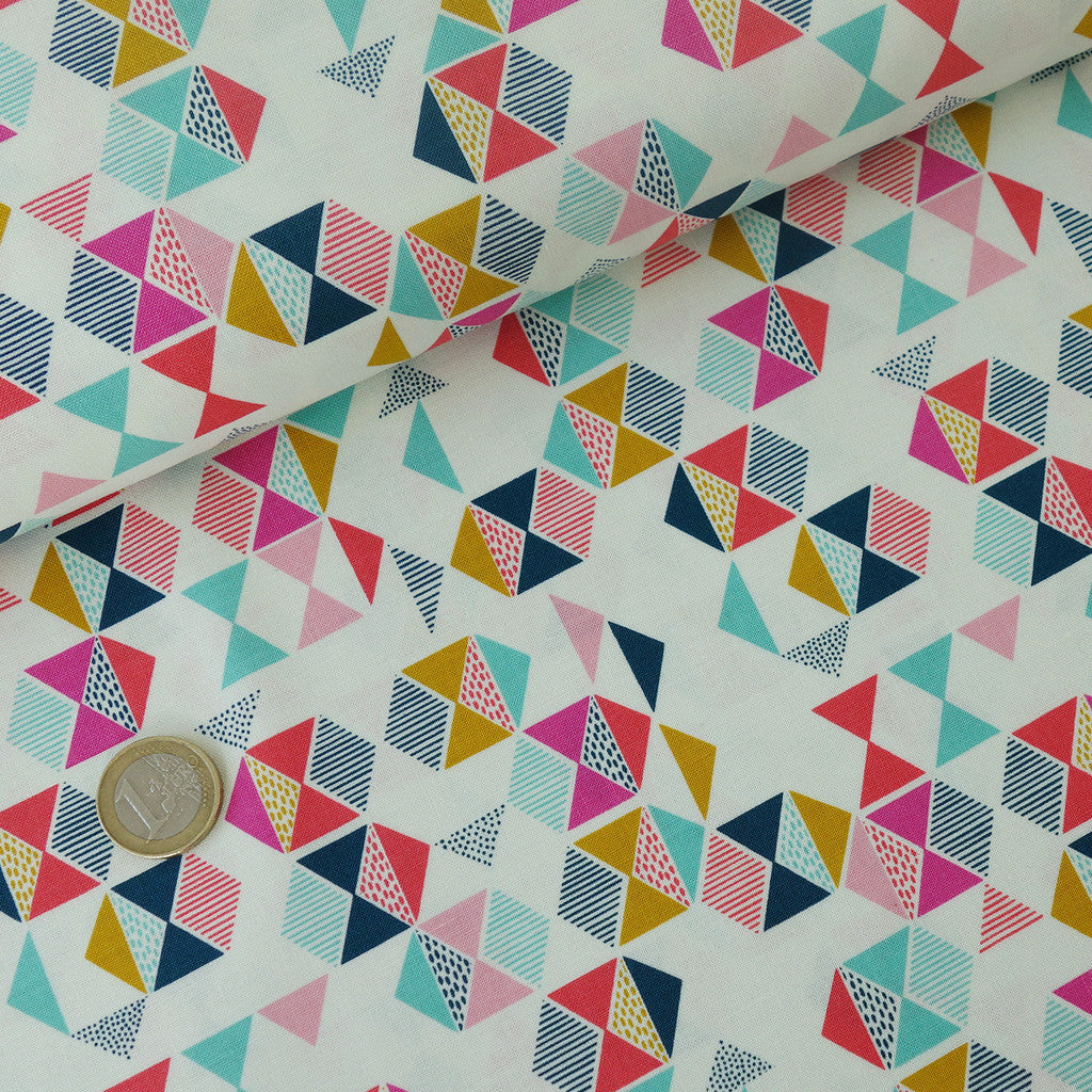 Popeline Candy Triangles multicolores