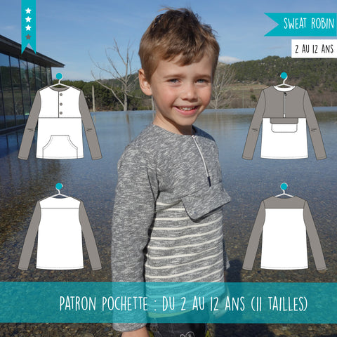 Patron Duo Sweat Robin 2/12 ans