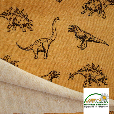 Tissu Sweat dinosaure moutarde