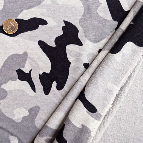 Sweat double face camouflage gris et noir