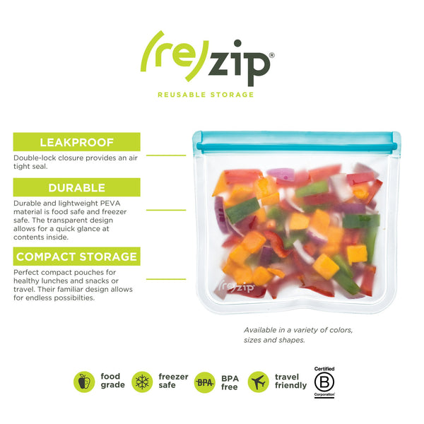 (re-)zip Essential Leakproof Reusable Storage Bag Kit (4 pack)