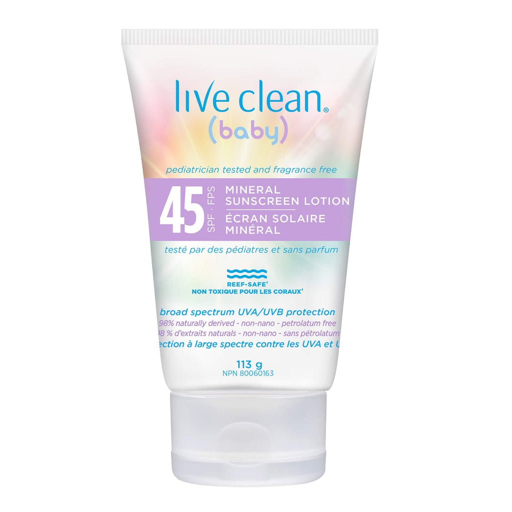 Live Clean Baby Mineral Sunscreen Lotion 45 SPF