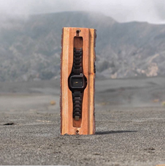 wooden watch in wood