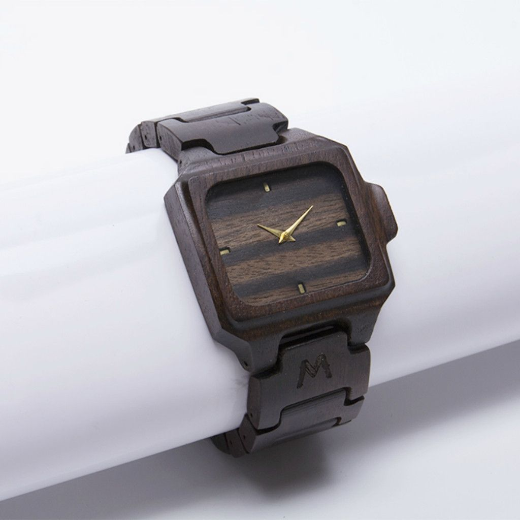 Rote Makassar Ebony Wooden Watch