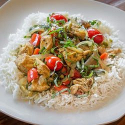 Basil Curry Chicken & Tomatoes Over Basmati Rice - Chicken Breast Included