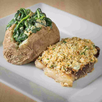 Blue Cheese Crusted Steak with Creamed Spinach & Baked Potatoes - Steaks Included