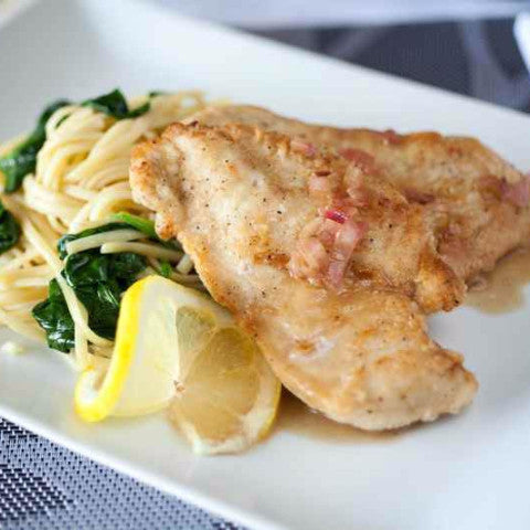 Lemon Chicken Piccata with Garlic Spinach Linguine - Just-Add-Meat