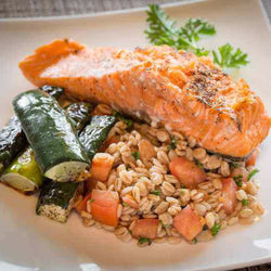 Grilled Salmon Fillets with Roasted Cucumber - Salmon Included