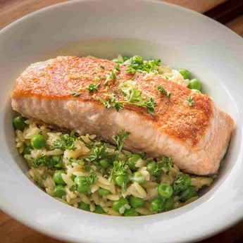 Seared Salmon Fillets with Lemon Orzo - Just-Add-Meat