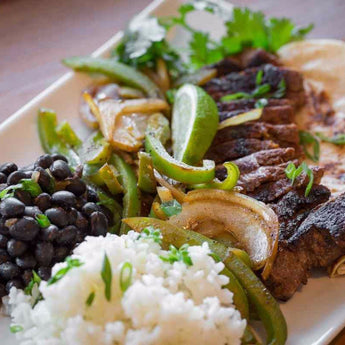 Steak Fajitas with Peppers, Black Beans, & Rice - Just-Add-Meat
