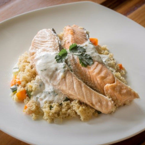 Steamed Salmon with Herb Cream Sauce - Just-Add-Meat