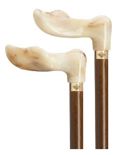 Unisex Marble/Walnut  Palm Grip Cane