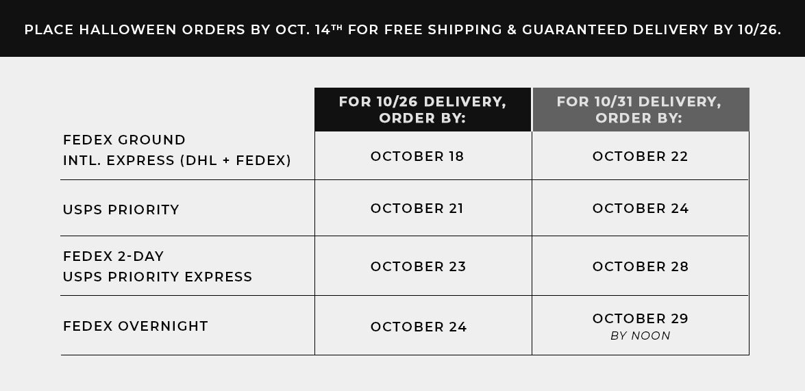 Halloween 2019 Shipping Deadlines
